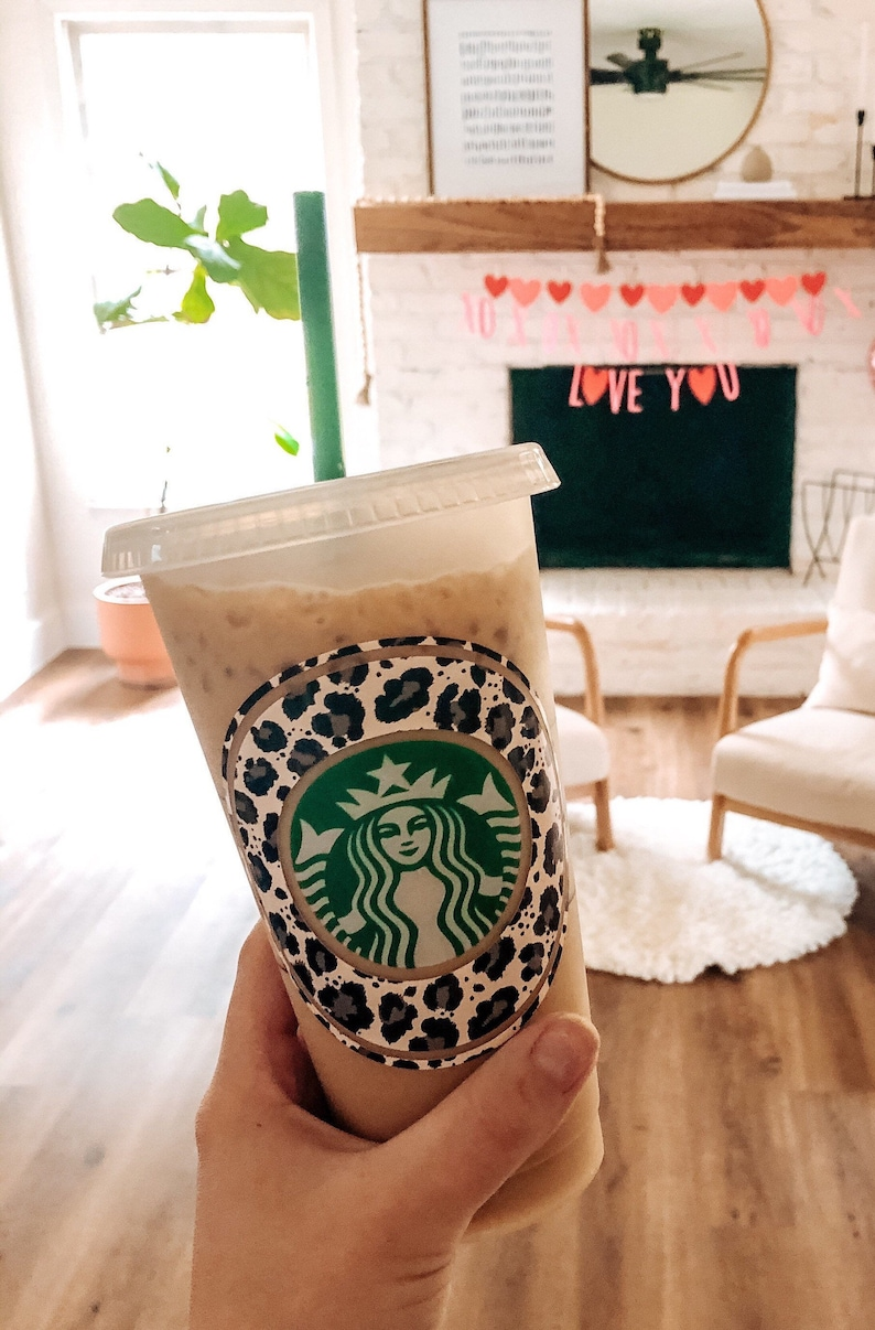Personalized Starbucks Cold Cup Tumblers Cheetah Print Cold Cup