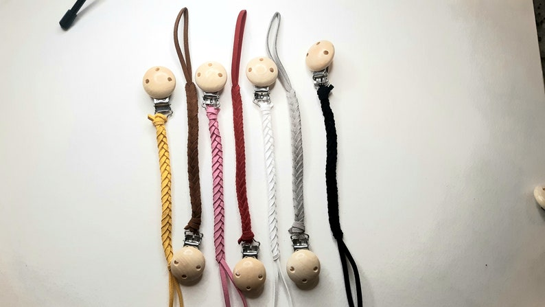 Faux leather braided modern pacifier holder with wooden clip free shipping