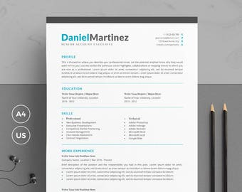 Simple Resume Template/CV Template + Cover Letter for Word | Clean & Modern Resume Template | 3 Pages Pack | Instant Download | DM Resume