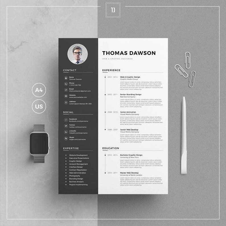 Modern Resume Template Cover Letter Business Card For Word Etsy