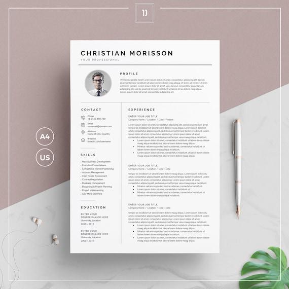 Resume Template Cv Template Cover Letter For Ms Word Clean Resume Template With Photo 1 2 Page Resume Instant Download Cm Resume