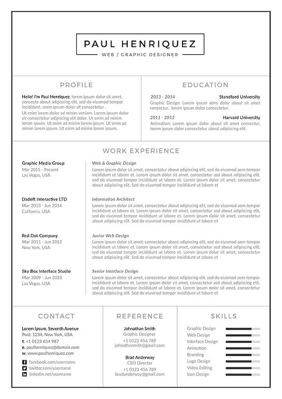 Modern Resume Template/CV Template + Cover Letter for Word | Two Page  Resume | Professional Resume Template | Instant Download | PH Resume