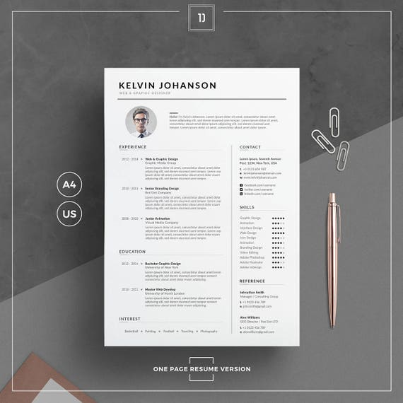 resume template  cv template cover letter for word clean