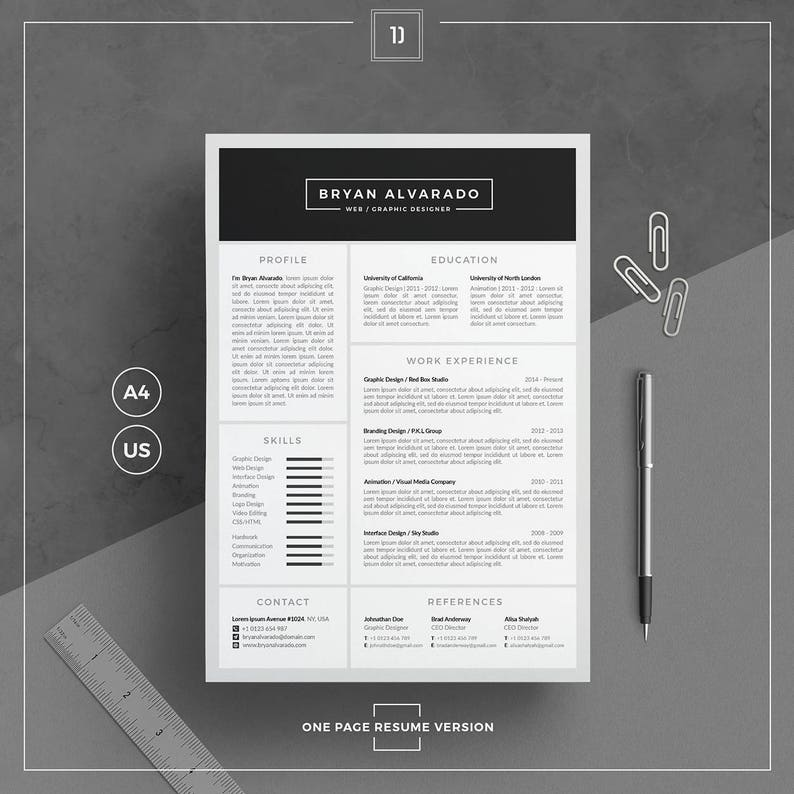 Resume Template Cv Template Cover Letter Business Card Etsy