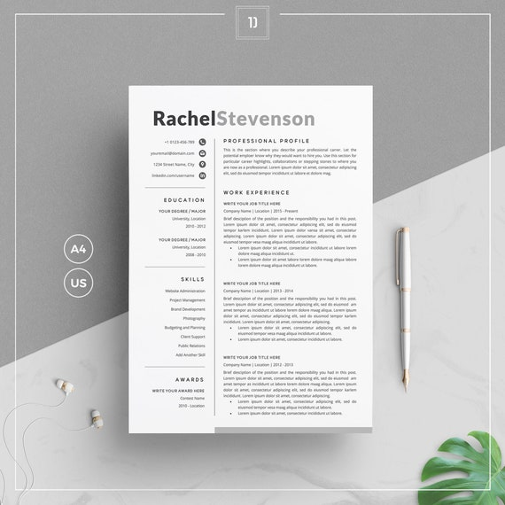 Creative Resume Template/CV Template & Cover Letter + References for Word    Clean Resume   4 Pages Pack   Instant Download   RS Resume