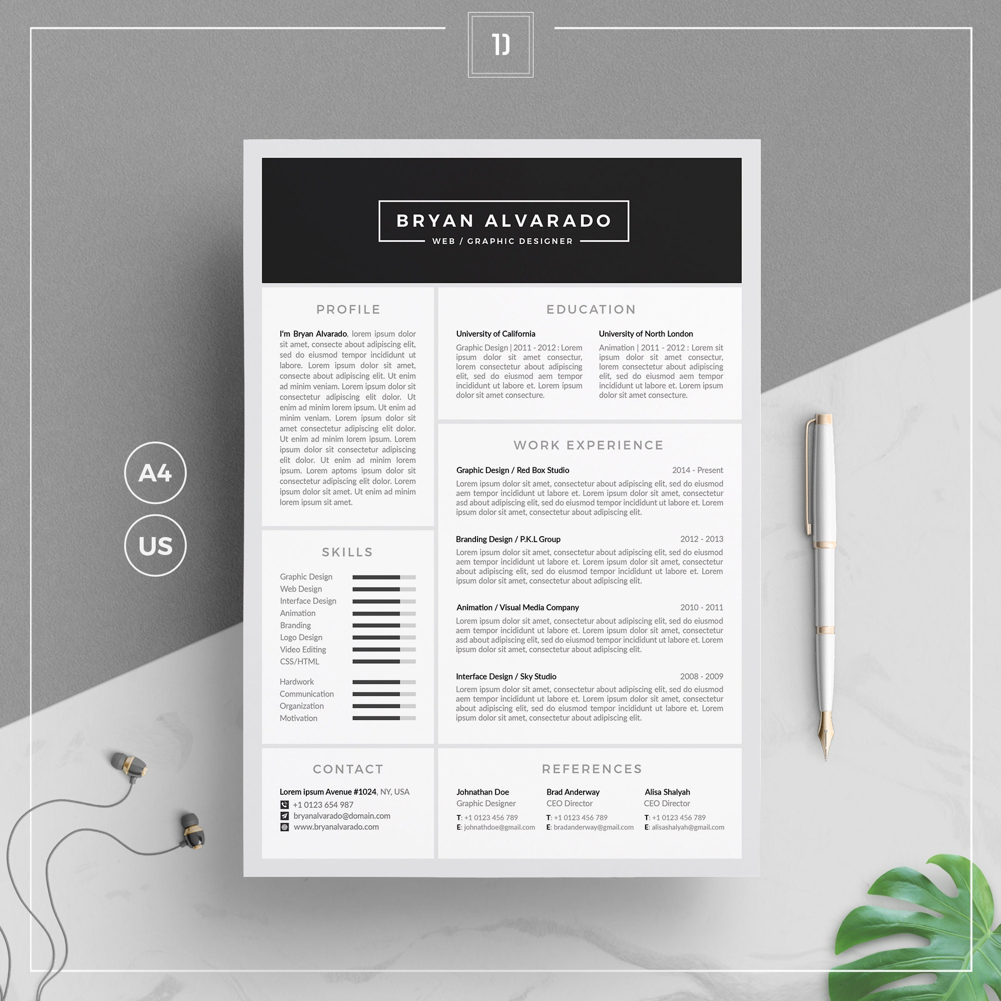 Resume Template/CV Template + Cover Letter + Business Card | Word Resume CV  | 1, 2 Page Resume | Clean Resume | Instant Download | BA Resume