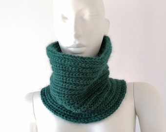 Snood man, women's snood, dark green snood, wool snood, knitted snood, snood made in France, hand-knitted snood, men's gift