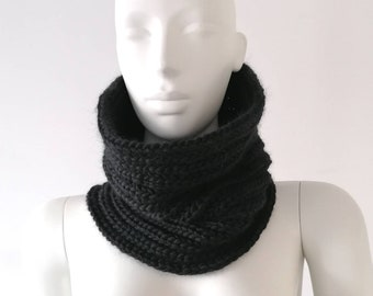 Snood man, women's snood, black wool snood, knitted snood, snood made in France, hand-knitted snood, man gift, woman gift