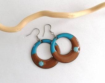 Blue and brown earrings, bohemian earrings, enamel jewelry, stainless steel, jewelry made in France, gift for women