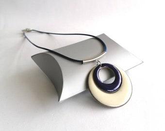 Blue women's necklace, blue women's pendant, blue women's jewellery, enamelled pendant, enamels, gift for women, gift for mom, made in France