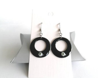 Black and white earrings, enamels, millefiori, made in France, gift for her