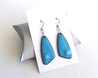 Blue women's earrings, enamel jewelry, stainless steel, blue earrings, made in France, women's gift