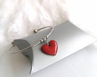 Red woman bracelet, heart woman bracelet, stainless steel, enamel bracelet, red jewelry, jewelry made in France, hand-made jewelry, gift