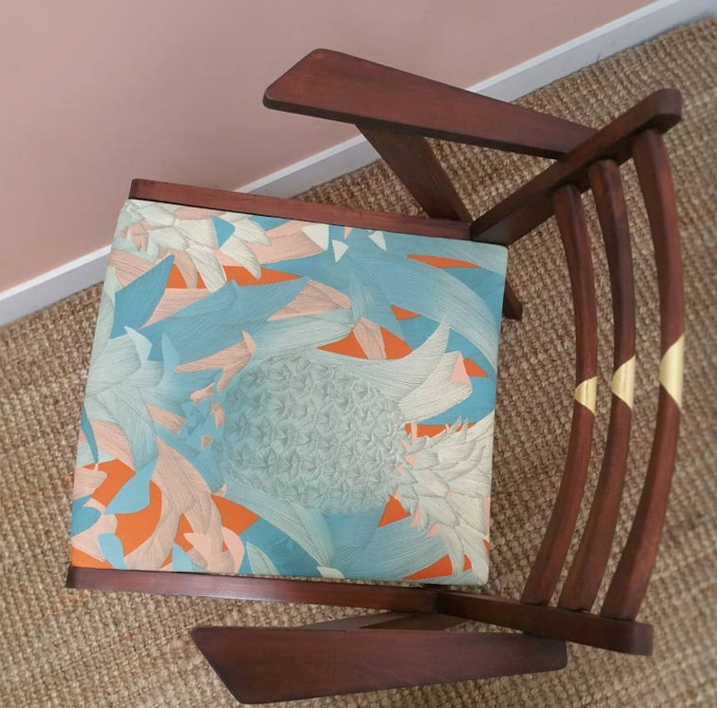 Chair wood and gold tropical Scandinavian fabric