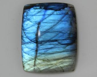 Blue Flashy Labradorite Cabochon Gemstone Handmade Fancy Shape Labradorite Gemstone Both Side Polish Use For Jewelry Size 44x13x7 MM