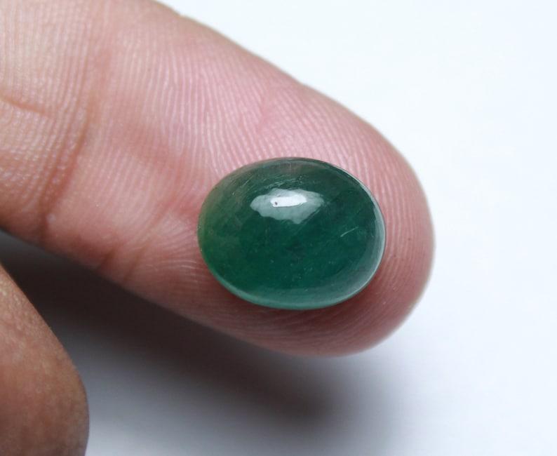 Beautiful Natural Oval Cabochon Zambian Green Emerald Loose Gemstone