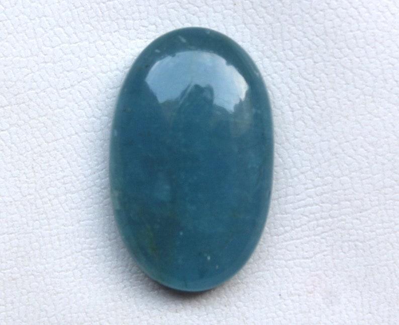 Oval Sugarloaf Cabochon Aquamarine 40.70CRTs Natural Aquamarine Cabochon Birthstone Making Jewelry Deep Blue Luster Aquamarine PolishStone