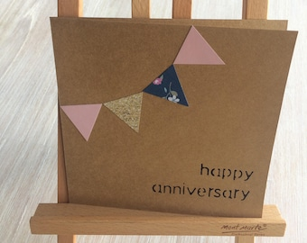 Personalised Gift Card, Bunting, Kraft Card, Anniversary, Wedding, Birthday, Baby, Just for you