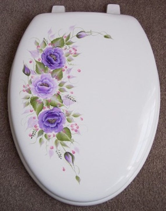 Fantastic Hand Painted Roses Toilet Seat Purple Lavender White Elongated Wooden Seat Lamtechconsult Wood Chair Design Ideas Lamtechconsultcom