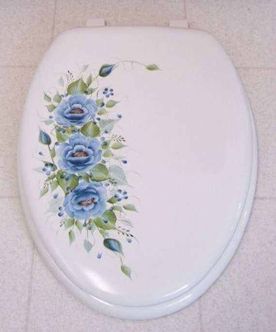 Phenomenal Hand Painted Roses Toilet Seat Blue Roses Elongated White Wooden Seat Lamtechconsult Wood Chair Design Ideas Lamtechconsultcom