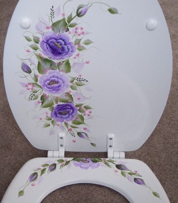 Admirable Hand Painted Roses Toilet Seat Purple Lavender White Elongated Wooden Seat Lamtechconsult Wood Chair Design Ideas Lamtechconsultcom