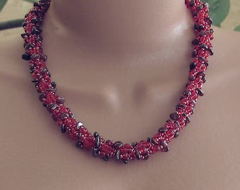 Garnet necklace, red necklace, red garnet necklace, red beaded necklace, garnet chip necklace, red gemstone necklace, red statement necklace