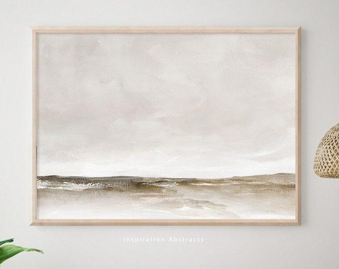 Calming Landscape Painting, Neutral Tone Print, Acrylic Painting, Minimal Wall Art, Modern Art Print, Printable Wall Art