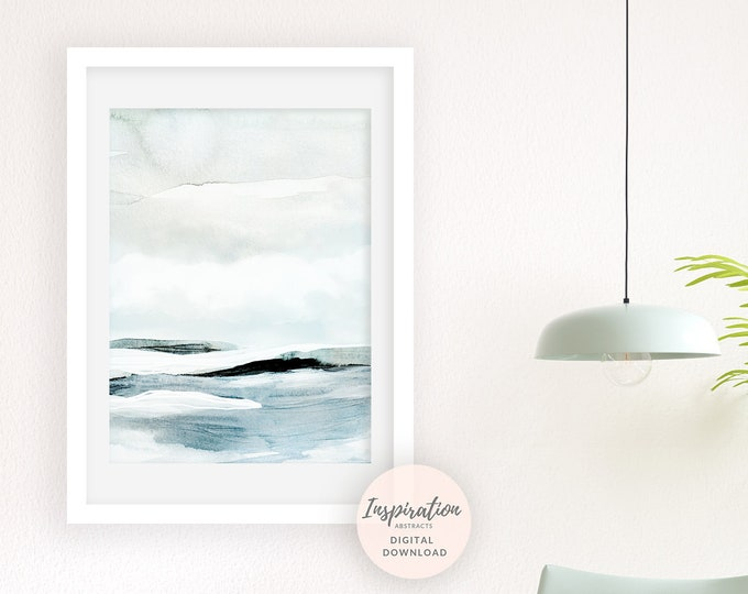 Serene Landscape Painting, Blue Green Wall Art, Watercolour Print, Printable Art, Large Wall Art, Minimalist Print, Abstract Wall Art