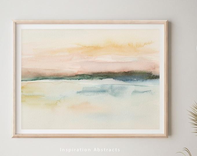 Abstract Watercolour Landscape, Lake House Decor, Zen Wall Art, Coastal wall Art, Nursery Wall Art, Printable Art