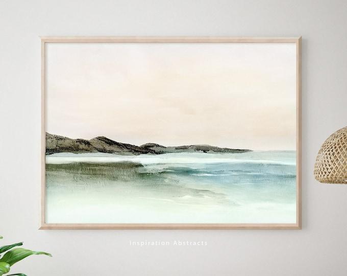 Serene Landscape Painting, Zen Wall Art, Lake House Decor, Coastal wall Art, Horizontal Wall Art