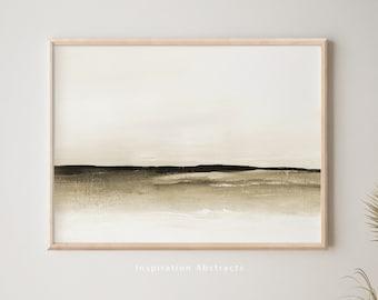 Serene Landscape Painting, Neutral Tone Print, Printable Art, Abstract Wall Art, Minimal Painting, Modern Art Print