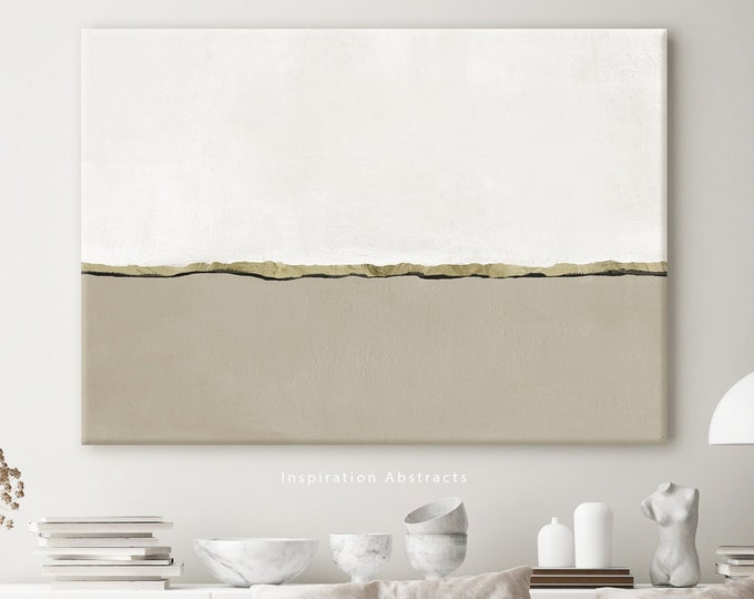 Large Minimal Canvas Print, Abstract Wall Art, Entry Way Art, Neutral Living Room Decor, Ready to Hang Canvas