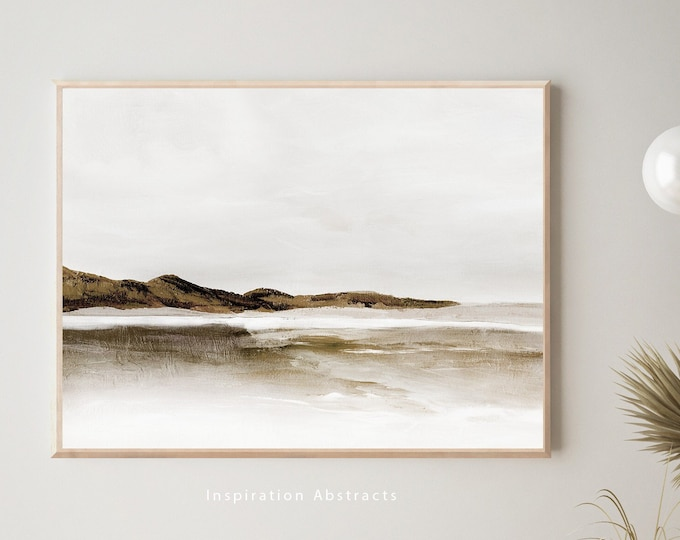 Neutral Landscape Painting, Horizontal Wall Art, Coastal Decor, Zen Wall Art, Large Abstract Painting, Printable Art