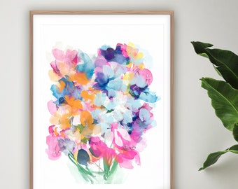 Colourful Flower Painting, Floral Wall Art, Large Flower Print, Watercolour Painting, Nursery Decor, Colourful Wall Art, Giclee Print