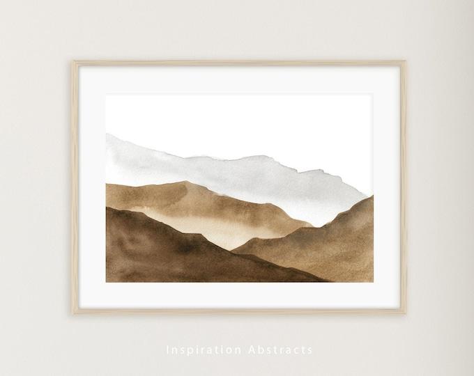 Abstract Mountain Print, Watercolour Painting, Printable Art, Neutral Art Print, Digital Download, Horizontal Wall Art, Large Art Print