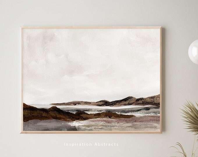 Moody Landscape Painting, Printable Art, Neutral Landscape, Acrylic Painting, Downloadable Art, Large Wall Art