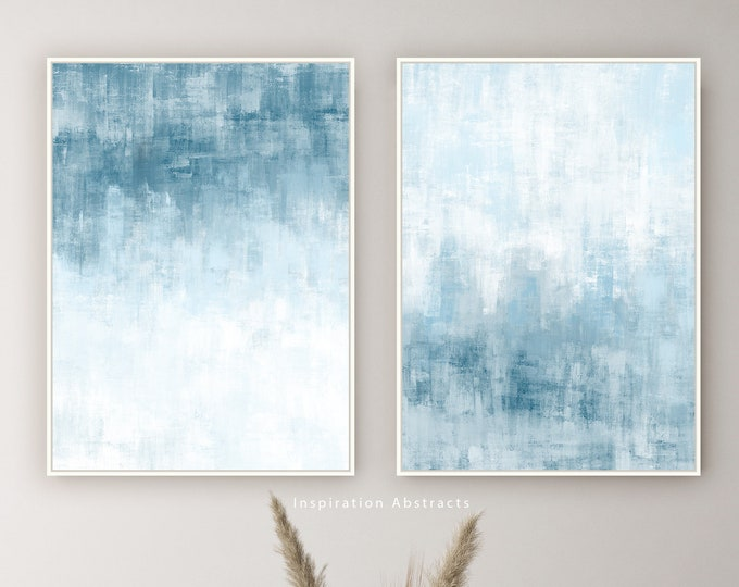 Set Of Two framed Art Prints, Pale Blue Wall Art, Coastal Wall Art, Zen Wall Art, Lake House Decor, Oil Paintings, Minimalist Art