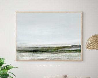 Large Landscape Painting, Sage Green Wall Art, Zen Wall Art, Lake House Decor, Downloadable Art