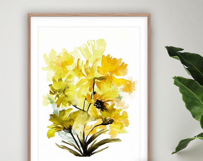 Featured listing image: Yellow Flower Print, Botanical Prints, Floral Wall Art, Watercolour Painting, Printable Art, 18x24 Art Print, Flower Print, Modern Art