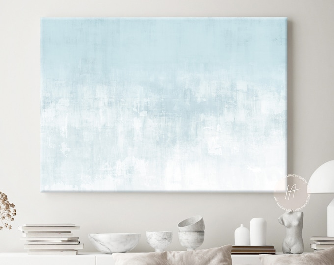 Large Canvas Print with Calming Blue and White Tones, Coastal Decor, Zen Wall Art, Lake House Decor, Abstract Art, Minimalist Art