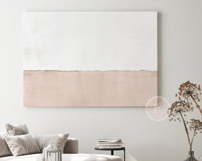 Large Blush Pink and White Canvas Wall Art, Minimalist Art, Lake House Decor, Abstract Art, Rothko Inspired, Extra Large Wall Art