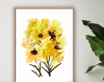 Yellow Flowers Print, Printable Wall Art, Botanical Prints, Collage Art, Floral Wall Art, Watercolour Painting, Large Wall Art, Modern Art