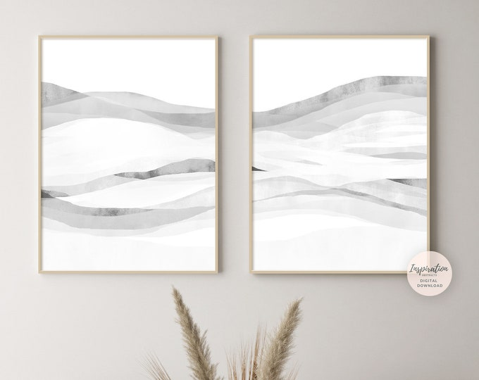 Modern Zen Wall Art, Set of 2 White Grey Minimal Abstract Paintings, Large Minimal Wall Art, Printable Art, Simple Wall Art