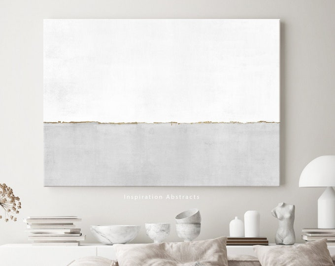 Minimal Canvas Print, Grey White and Gold Abstract Painting, Minimalist Art, Canvas Wall Art, Oversized Wall Art, Abstract Art