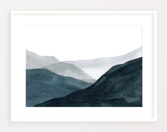 Navy Blue Mountain Painting, Minimalist Wall Art, Watercolour Print, Lake House Decor, Abstract Art, Horizontal Wall Art, Printable Art