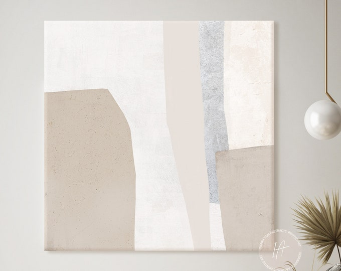 Minimal Beige White and Grey Canvas Wall Art, Abstract Art, Zen Wall Art, Minimalist Wall Art, Large Wall Art, Mixed Media Art