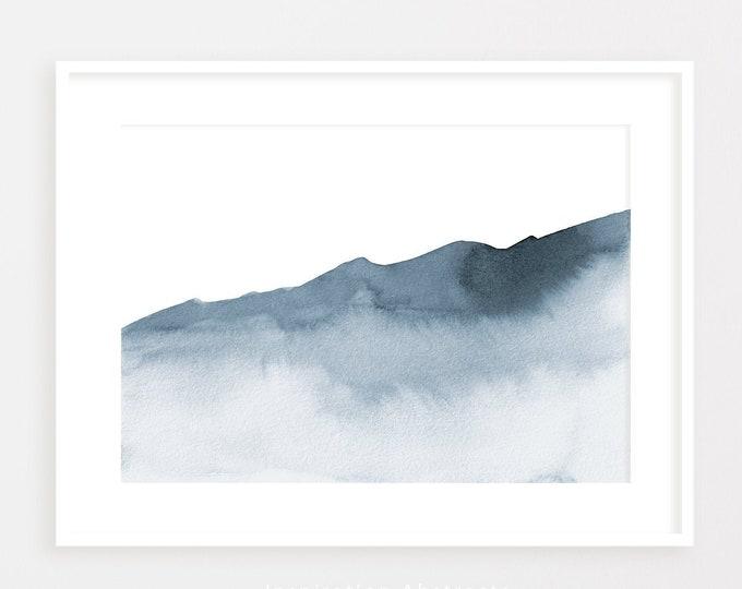 Serene Mountain Painting, Zen Wall Art, Large Watercolour Print, Coastal wall Art, Abstract Art, Instant Download, Horizontal Wall Art