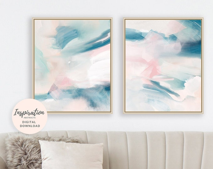 Teal Abstract Art, Set of 2 Paintings, Abstract Nursery Decor, Digital Download, Mixed Media Art, Acrylic and Watercolour Art