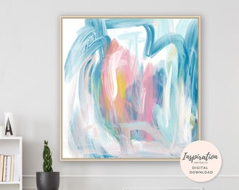 Colourful Abstract Art, Printable Wall Art, Oil Painting, Abstract Nursery Art, Large Wall Art, Square Print, 24x24 Art Print