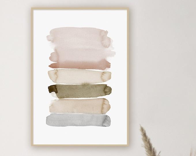 Minimalist Brush Strokes Print, Zen Wall Art, Large Watercolour Print, Abstract Art, Printable Art, Neutral Decor, Bedroom Wall Art